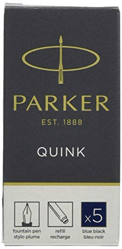 Parker Quink Fountain Pen Refills, Long Cartridges Blue/Black Ink, Box of 5