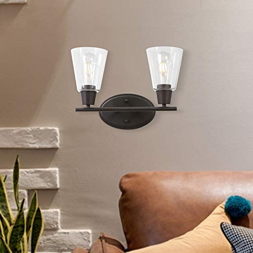 BONLICHT Double Sconce Vintage Industrial 2-Lights Wall Sconces with Cone Clear Glass -
