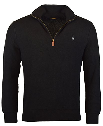 n's Half-Zip Cotton Sweater - L - Polo Black ()