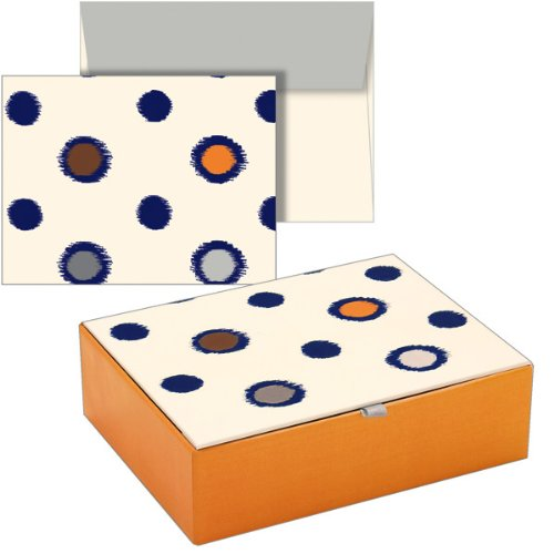 Price comparison product image Mara-Mi Dots Cigar Box Note Cards, 12 Cards and Envelopes, 4.75 X 3.62 Inches (41394)