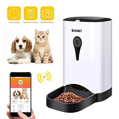 Gasky Automatic Cat Pet Smart Feeder - App Control Dog Food Dispenser with WiFi, Camera, Video, 4.5L Large Capacity,Distribution Alarms, Portion Control, Voice Recording,Timer (Best Smart Pet Feeders)