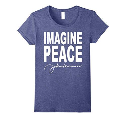 John Lennon Ladies T-shirt - Womens John Lennon - Imagine Peace T-Shirt Medium Heather Blue