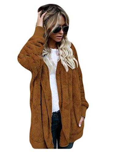 Marrón capa Auspicious de sólido piel la Invierno beginning de mujeres las la de bolsillos de imitación color con moda de ocasional de Bq1BfP
