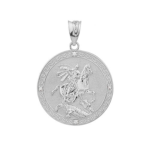 925 Sterling Silver Saint George Medal Protection CZ Charm Pendant (Small)