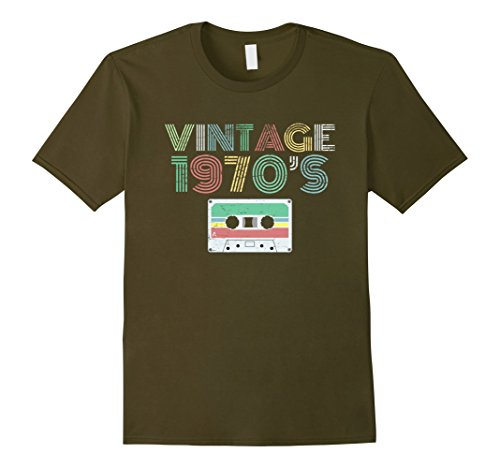 Mens Clothing 1970s - Mens Vintage Distressed 1970s Music T Shirt Large Olive