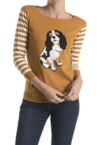 Mak Spaniel Dog Intarsia Sweater Camel Medium ()