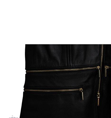 Giubbotti Donna MICHAEL KORS in pelle a manica corta con due tasche laterali con zip, chiusura con zip dorata Nero