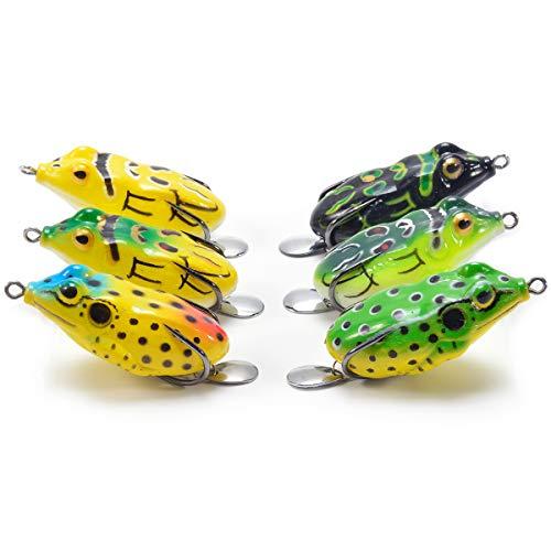 (Supertrip Topwater Frog Crankbait Tackle Crank Bait Bass Soft Swimbait Lures Crankbaits Baits Hard Bait Fishing Lures(Multicolors) (6pcs with Sequins) )