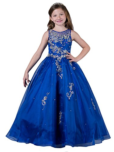 (Wenli Kids Glitz Formal Occasion Dresses Girls Beaded Pageant Gowns 12 US Royal Blue)