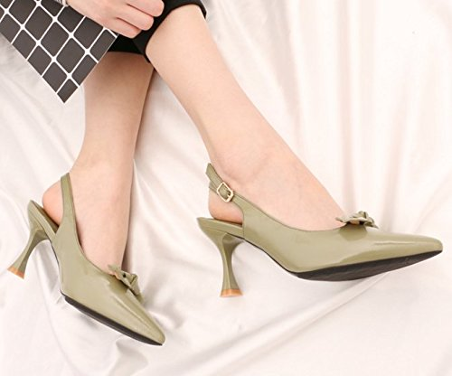 Elegant Sweet Heeled Shoes Spring All Match The Green Bow MDRW Buckle After 7Cm Leisure Empty Shoes Tip With Lady 36 Work Word Shoes High Fine Ywx5qf