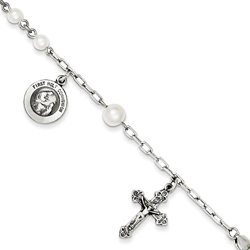 Argent sterling culture d'eau douce Pearl Bracelet Rosaire-Homard Griffe-18cm