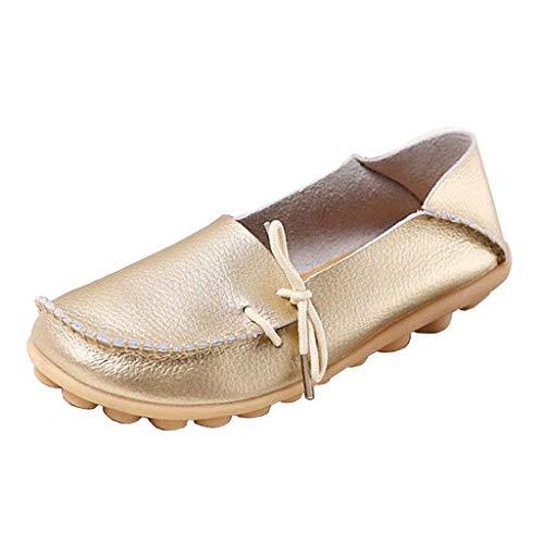 Uk 2 Vita Bassa Da A Lacci Donna Mocassini Dimensione Oro Con colore Shoe Pelle Flat In Eleganti aPZcfZq