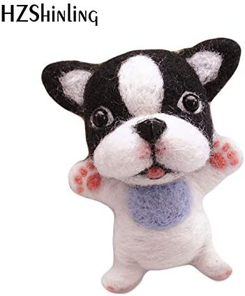 Decotcute Wool Felting Kit Felted Wool Fabric Wool Felt Craft DIY Non Finished Poked Set Handcraft Kit for Needle Material Bag Pack-Bull Dog Doll for Girls