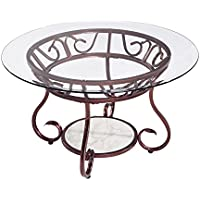 Joveco Red Bronze Metal Frame Round Coffee Table with Tempered Glass Table Top