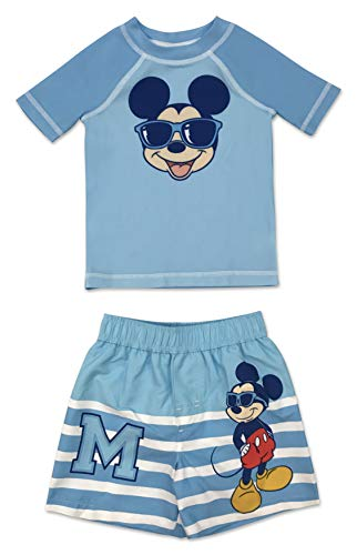 Infant Boy Mickey Mouse 2 Piece Rash Guard and Swim Trunk Set 12 Months ()