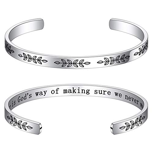 Sister Gifts from Sister Bracelets Gifts - Sisters Birthday Christmas Jewelry Gifts from Sister Stainless Steel Cuff Bangle Bracelet, A Sister is God's Way of Making Sure We Never Walk Alone Bracelet