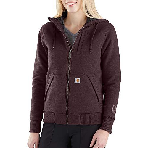 Carhartt Women's Rain Defender Rockland Quilt Lined Zip Hooded Sweatshirt, Fudge Heather, X-Large