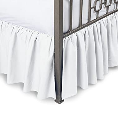 Harmony Lane Ruffled Bed Skirt with Split Corners - Queen, White, 21 Inch Drop Bedskirt (Available in All Sizes and 16 Colors)
