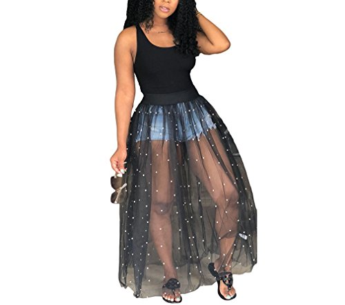 - Nhicdns Womens Sleeveless Tank Top with Beadings Mesh See Through Long Maxi Dress Party Clubwear