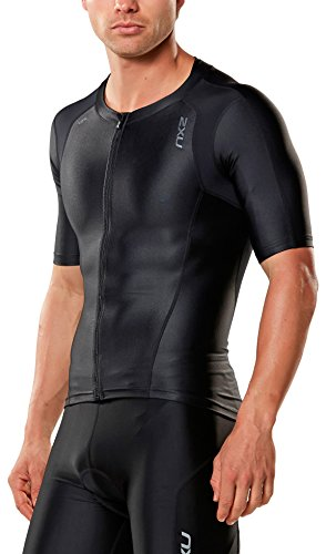 2XU Men's Compression Sleeved Tri Top, Black/Black, Medium by 2XU
