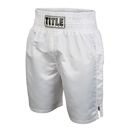 TITLE Edge Boxing Trunks, White, Small
