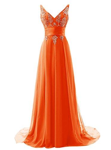 ALAGIRLS Long V Neck Prom Dress Chiffon Sequins Evening Dress Orange US10 (Dress Johnny Formal)
