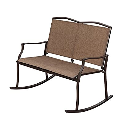 SunLife Outdoor Sling Rocking Chair Built for 2, Loveseat, Bench, Patio, Garden, Balcony, Frame Color is Bronze, Brown, Taupe Fabric Color is Khaki, Sand - HIGH QUALITY - Durable, high-quality rust-free and powder coated aluminum frame is a winning combination for extended outdoor relaxation through the seasons DURABLE FABRIC - It is extremely durable with high quality and elegant fabric. Weatherproof textilene sling fabric covers seat and backrest in neutral brown that hides dirt. Treated with UV coating to resist fading. Moisture resistant and easy to clean COMFORTABLE USING - Relax and take in the surroundings or catch up with a friend as you rock your cares away in this generously proportioned Outdoor Rocking Chair Loveseat. Glide Smoothly easily - patio-furniture, patio-chairs, patio - 419qivTxjEL. SS400  -