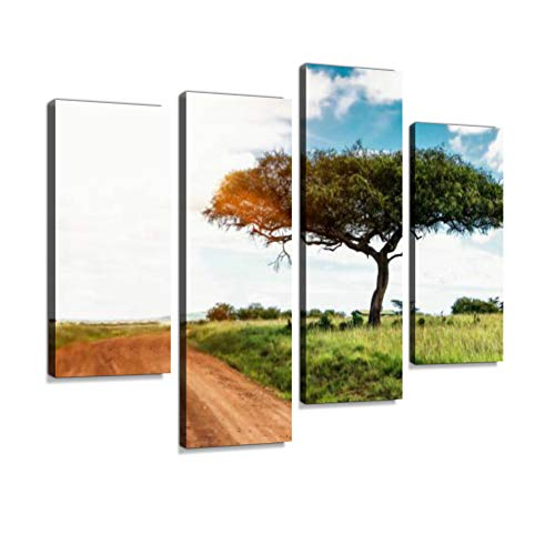 (Acacia Tree in The Sunlight on The Dirt Road in The African Savannah Canvas Wall Art Hanging Paintings Modern Artwork Abstract Picture Prints Home Decoration Gift Unique Designed Framed 4 Panel)
