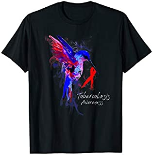 TUBERCULOSIS Awareness Humming Bird Ribbon Hope T-shirt | Size S - 5XL