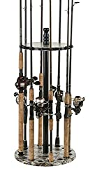 Organized Fishing Camo Round Floor Rack For Fishing Rod Storage, Holds Up To 15 Fishing Rods, Camouflage Finish, Camrr-015