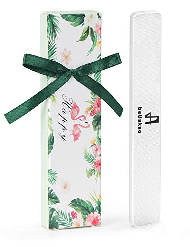 Premium Upgrade Nano Glass Nail Shine Buffer, All in One Step, beUakso Best Glass Nail file for Natural and Acrylic Nails, Lucency Glass Nail Buffer with Velvet Pouch and Bowknot Gift Box