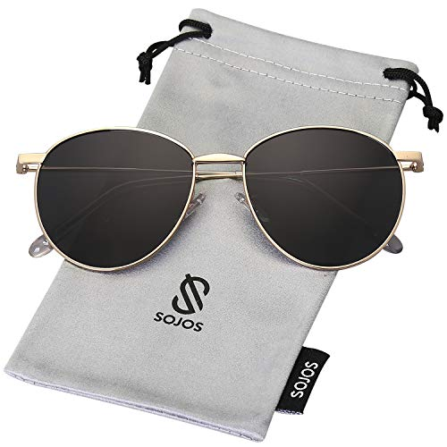 SOJOS Sunglasses for Women Men Oval Round Metal Frame DEWDROP SJ1117 with Gold Frame/Grey Lens