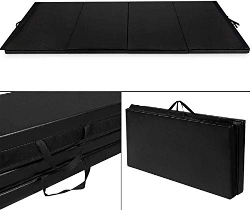 GOFLAME Gymnastics Mat Folding 4'x10'x2, Thick Exercise Mat with Carrying Handles, Gym Fitness Aerobics Mat for Yoga, Tumbling, Gymnastics, Martial Arts, Black
