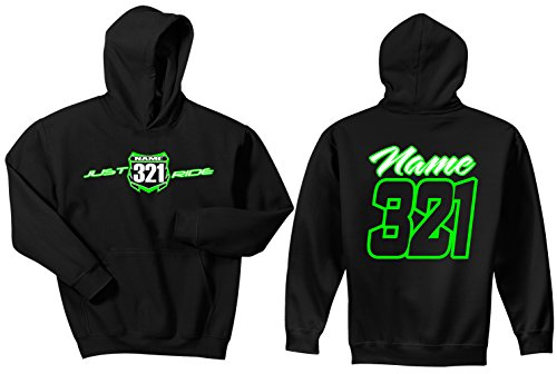 (JUST RIDE Motocross Youth Hoodie Number Plate Custom Personalized Sweat Shirt (YS, Lime-White))