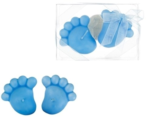Baby Footprints Floating Candle - Blue (Pack Of 48)
