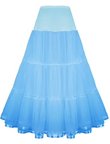Shimaly Women's Floor Length Wedding Petticoat Long Underskirt for Formal Dress (XL-3XL, Sky Blue)