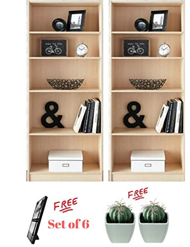 - Mainstay` Pack of 2 Birch Laminate Finish 5-Shelf Wood Bookcase with Extra Free!