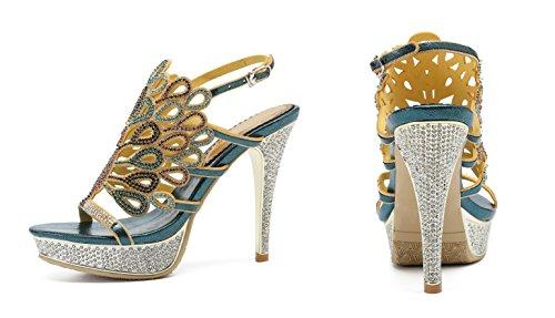 Pumps Women's Honeystore Rhinestones Party Blue Peacock Platform for Stiletto Heels Sandals Shoes wRwaqCn