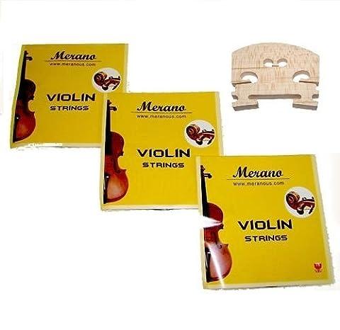 3 Sets Merano STV100 3/4 Size Violin String + Bridge (Violin Strings For 3 4)