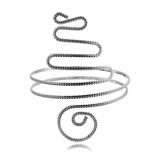 TUSHUO Filigree Gypsy Swirl Snake Arm Cuff Wire Armlet Armband Stretchy Bangle Bracelet (Antique Silver) ()