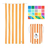 Dock & Bay Sand Free Beach Towel Microfibre - Ipanema Orange, Large (160x80cm, 63x31) - Fast Drying Camping Towel for Sports, Pool, Bath Towel