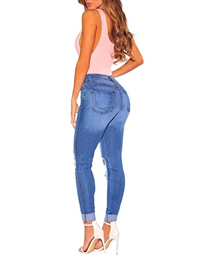 Haute Cut Bleu Comme Crayons Knee Femmes Ripped Jeans Slim Image Skinny Taille ZongSen Pantalons 8EpXqBwx