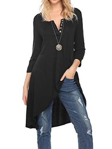 (Naggoo Womens 3 4 Sleeve High Low Handkerchief Hemline Tunic Top Black)