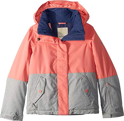 Girls Brushed Pant Tricot - Roxy Little Jetty Block Girl Snow Jacket, Shell Pink 8/S
