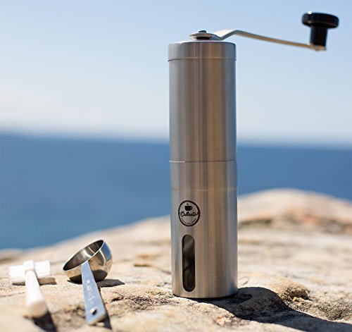 LIMITED OFFER Manual Coffee Grinder with Adjustable Ceramic Burr - Conical Mill for Precision Brewing - Stainless Steel Spoon, Cleaning Brush & Carrying Pouch - BONUS FREE EBOOK (Haro Burr Coffee Grinder compare prices)