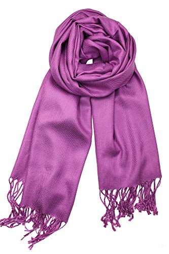 (Achillea Large Soft Silky Pashmina Shawl Wrap Scarf in Solid Colors (Violet))