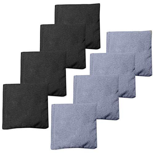 Play Platoon Premium Weather Resistant Duck Cloth Cornhole Bags - Set of 8 Bean Bags for Corn Hole Game - 4 Silver & 4 Black ()