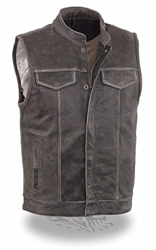 Milwaukee Leather Men's Distressed Grey Motorcycle Son Of Anarchy Style Leather Vest W/Gun Pockets - Gun Motorcycle Boots