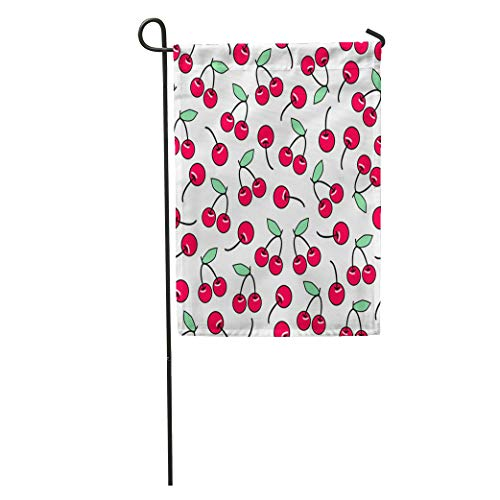 Semtomn Garden Flag Pattern Cute Cherry Good Sweet Red Ripe Cherries Fruit Natural Home Yard House Decor Barnner Outdoor Stand 12x18 Inches Flag