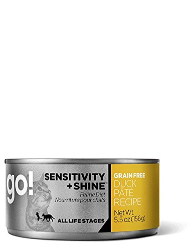 PETCUREAN Go Sensitivity and Shine Grain Free Duck Pate Cat Food, 3 PACK of 5.5-Ounce cans (3 x 5.5 oz) by Petcurean